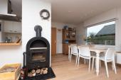fireplace that provides warmth and atmosphere